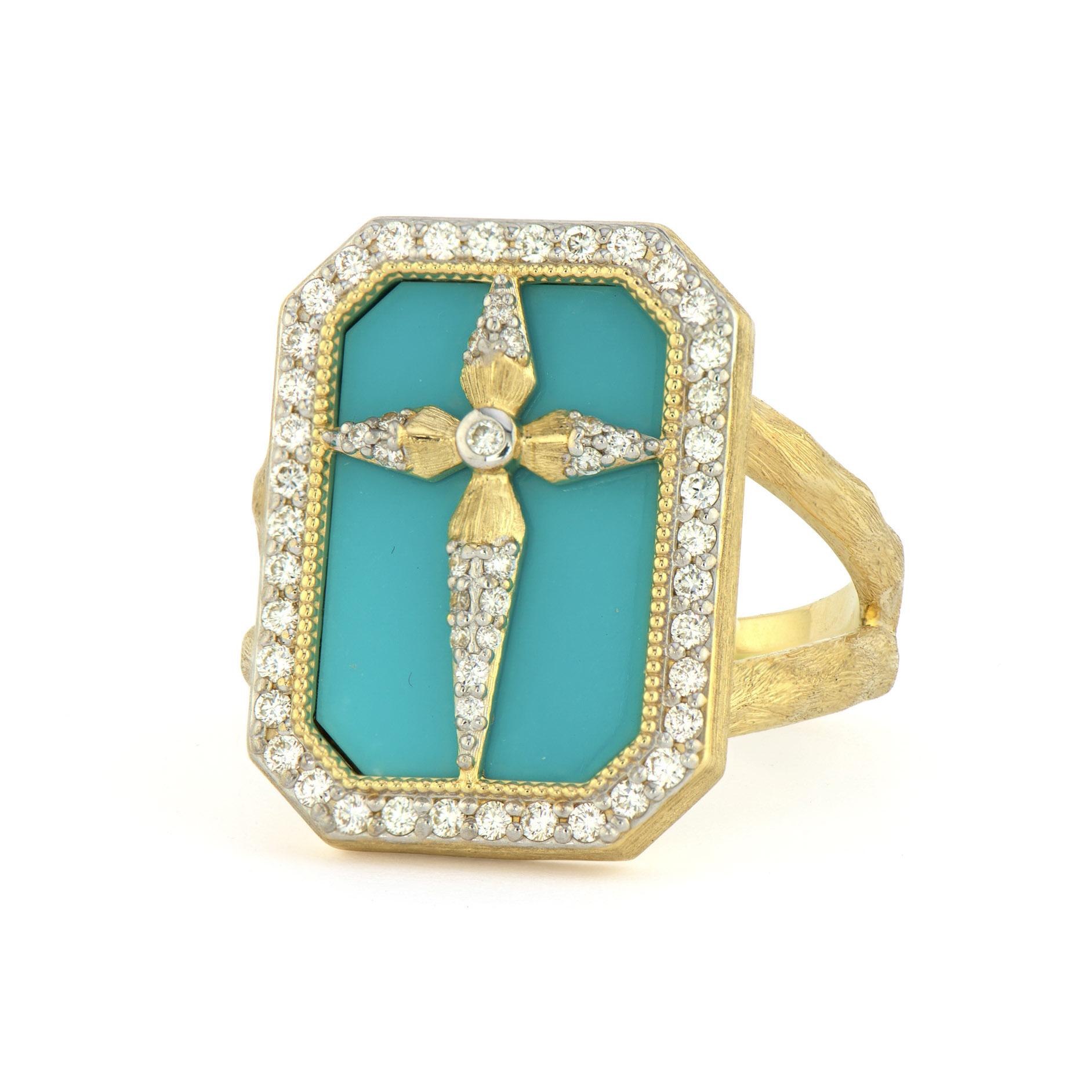Teal cross ring