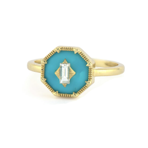 Lisse Ring with Diamond Center Turquoise Face